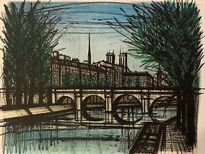 "Close Out Original Bernard Buffet ""Le Pont Neuf"" Paris Bridge Authenticated $95.00"