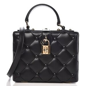 Dolce amp; Gabbana Black Lambskin Quilted Box Top Handle Bag $1495.00