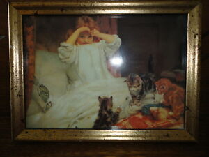 Pears Famous Art Print Little Girl in Bed with Doll Kittens Wood Glass Frame $150.00