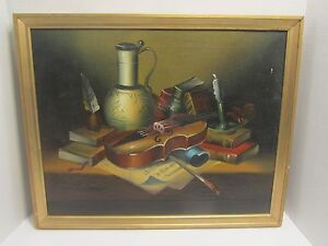 ANTIQUE PAINTING quot;STILL LIFE WITH VIOLIN.quot; signed HABADY $450.00