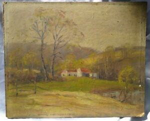 Antique Oil Painting Lowry Run Ohio J. Harvey Leedy b.1869 American Landscape $149.00