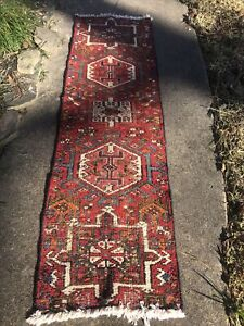 "Authentic Hand Knotted Woven Vintage Wool Turkish Runner 5'6"" x 1'6"""
