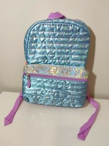 Kids Girls Mermaid Holographic Backpack New With Tags Blue and Pink