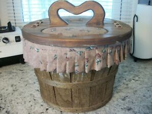Vintage Sewing Basket With Heart Handle $29.99