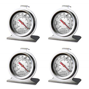 4 Pack Sliver Refrigerator Freezer Thermometer Large Dial Thermometer