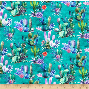BTY Stof LANZAROTE CACTUS on Green Print 100% Cotton Quilt Fabric by Yard $10.00