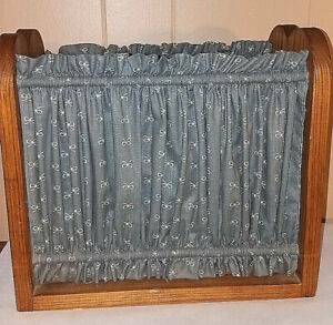 Magazine Rack Sewing Rack w Blue Curtain Sides Vintage Solid Wooden w Handle $22.99
