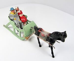 Vintage Barclay Lead Metal Mint Green Sled Couple Christmas w Horse Scene Layout