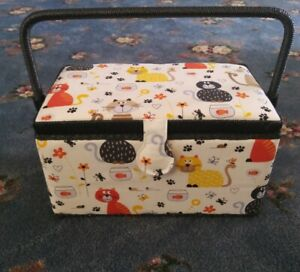 Vintage Sewing Box With Cartoon Cat Pattern with tray $30.00