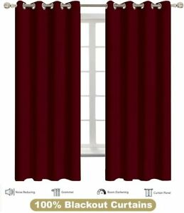 Blackout Curtains Burgundy for Bedroom Thermal Insulated Room Darkening Curtain
