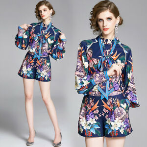 New Spring Summer Fall 2pcs Women Sets Floral Print Blouse Shorts Suits Outfits