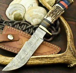 CUSTOM HANDMADE DAMASCUS 5.5quot; Blade BOWIE HUNTING 10quot; Knife w Stag handle 3945