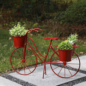 Glitzhome 28quot;L Metal Standing Bicycle Planter Stand Flower Holder Garden Decor $50.99