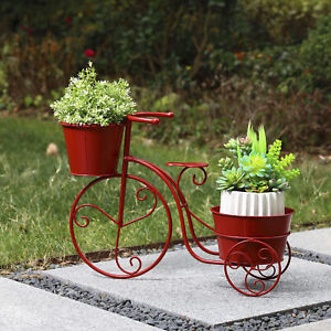 Glitzhome 21.5quot;L Metal Red Bicycle Planter Stand Home Plant Display Garden Decor $30.99