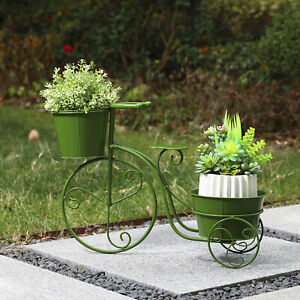 Glitzhome 21.5quot;L Metal Green Bicycle Plant Stand Flower Pot Holder Garden Decor $29.27