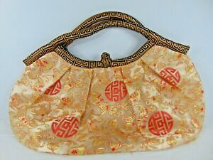 WA Gold Sage Red Oriental Print Silk Clutch Bag
