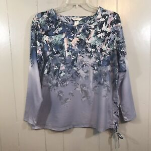 Christopher Banks Petite Side Lace Up Tie Purple Floral Semi Fitted T Shirt PM $14.95