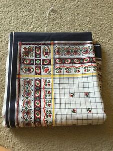 Fabric Marcus Brothers Textiles Blue White Red Flower Quilting Square 45 x 89 VG $2.30