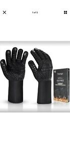 Vemingo Safety BBQ Grill Master Gloves Heat Protection to 800F Black Large