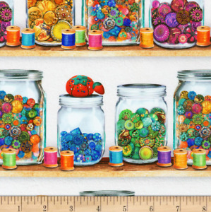 BTY Kaufman SEWING EMPORIUM Jars Buttons Wh Print 100% Cotton Quilt Fabric Yard $10.00