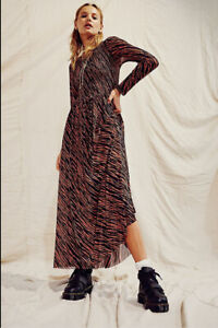 NWT Free People Hello and Goodbye mesh midi dressblack brownsz.XS