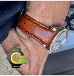 20mm DEEP BROWN Calfskin leather curved fitted Band Strap Rolex Datejust Watch $69.99