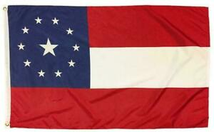 1st National Confederate Flag 2X3 Printed 11 Stars UNITED STATES OF AMERICA CSA