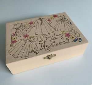 quot;Sewing With Madisonquot; Wooden Sewing Box and Doll by Maryanne Oldenburg $35.00