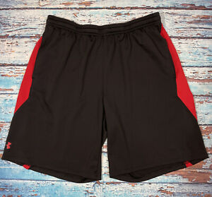 Mens UNDER ARMOUR Shorts Large Loose With Pockets Lightweight Black Red $17.99
