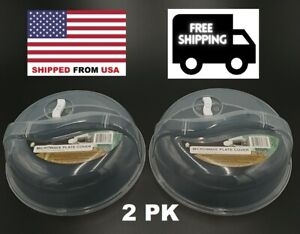2PK Plastic Microwave Plate Cover Clear Steam Vent Splatter Lid 10.25 Food Dish