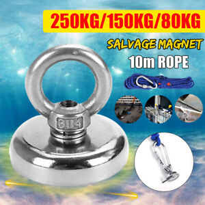 550LB Salvage Strong Recovery Magnet Neodymium Treasure Hunting Fishing10M Rope