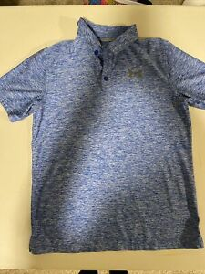 Lot 2 Nike Dri Fit Under Armour Golf Polo Shirts Boy's Youth YL Blue Red $24.00