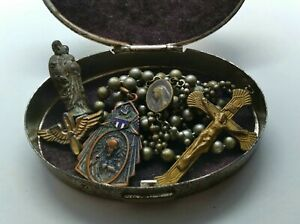 Antique Military Pull Chain Rosary WW1 WW2 w Case AIR FORCE Wings Medal Statue $225.25