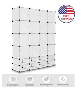Clear Plastic DIY Storage 16 Cube Closet Organizer With Shoe Rack Portable White $115.89