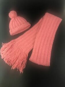 Abercrombie Fitch Knit Scarf Hat Beanie 100% Wool Coral Pink Orange Thick 110 $29.77