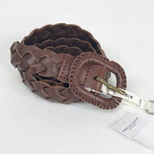 AE AMERICAN EAGLE Outfitters Womens Leather Braided Woven Belt Size Medium NWT $13.99