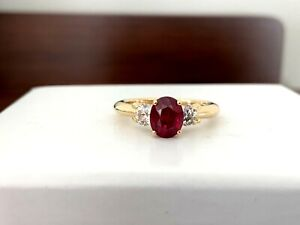 .99 ct Natural OVAL Thai RUBY and Diamond Ring GIA Certified 18k RARE $10k NEW