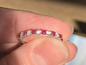 14K White Gold Ruby and Diamond Ring Sz 7.25