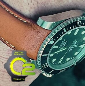 20mm Cognac BROWN leather curved fitted Band Strap Rolex SUBMARINER GMT YACHT $69.99