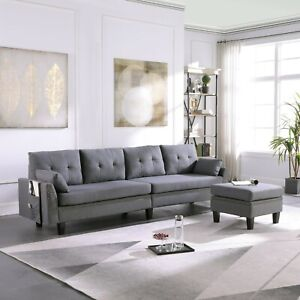 4 Seaters Sectional Sofa Couch with Storage Ottoman Pillows Upholstered Fabric