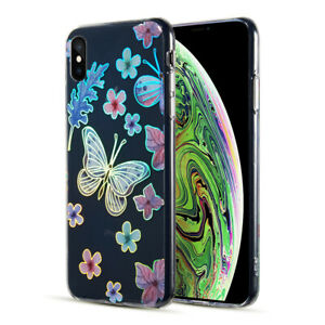 Decoration Series Holographic Printing Transparent Fusion Case for iPhone XS Max