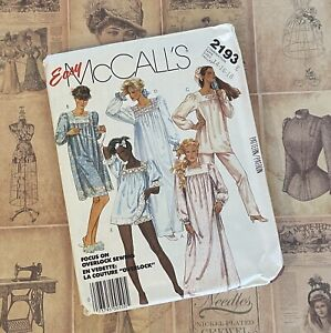 McCalls 2193 Nightgown Vintage Sewing Pattern Cottagecore 1980s PJs modest $7.99