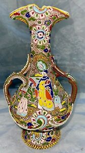 Antique Japanese Enameled Earthenware Pottery Satsuma Moriage Vase Porcelain