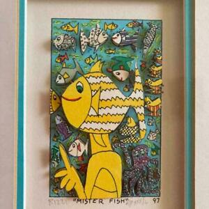 James Rizzi MISTER FISH Frame 3D Art Signed 1997 305 mm used
