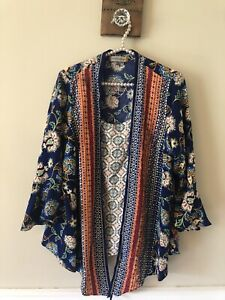Figueroa Flower Womens Layered Blouse Size 1X Blue Floral Bell Sleeves Boho $15.99