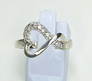 Heart Shaped Infinity Gem Ring Size Q Sterling Silver GBP 18.00