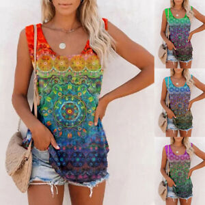 �� Womens Printed Sleeveless Casual Vest Blouse Tops Ladies Summer Tank T Shirt $14.99