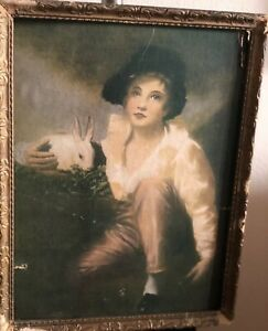Boy And Rabit Sir Henry Raeburn. 1814 Framed Antique. On Paper Board $30.00