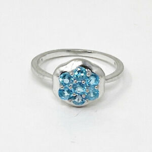 925 Sterling Silver Swiss Blue Topaz Dainty Cluster Flower Ring Size 7.75 $49.99