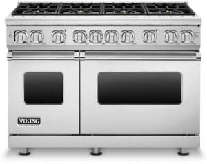 Viking 7 Series 48 SoftLit LED Stainless Freestanding Gas Range VGR7488BSS